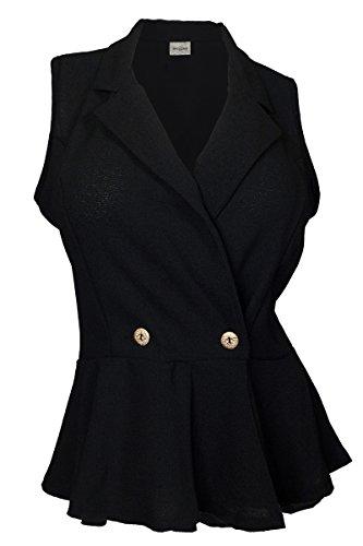 eVogues Plus size Spread Collar Sleeveless Vest Top Black - 3X