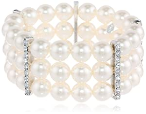 Cream Simulated Pearl and Clear Crystal Triple Row Stretch Bracelet