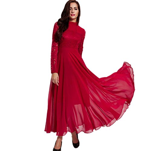 Women's Lace Long Sleeve Floor Length Evening Dress Polyester Maxi Dress -Medium (Peach Color Bridesmaid Dresses compare prices)