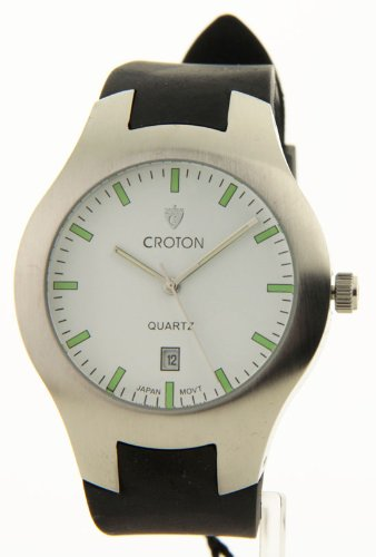 Mens Croton Sporty Black Rubber Band Date Watch Ca301052bswh