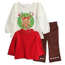 BT Kids Newborn Baby Girls 3 Piece Christmas Sweater Turtleneck Corduroy Pants