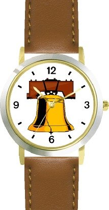 Liberty Bell American Theme - Watchbuddy® Deluxe Two-Tone Theme Watch - Arabic Numbers - Brown Leather Strap-Children'S Size-Small ( Boy'S Size & Girl'S Size )