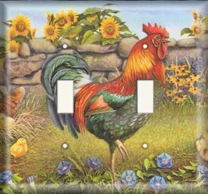Double Switch Plate OVERSIZE - Rooster And Sunflowers