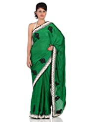 Chhabra555 Green Faux Chiffon Embroidery Saree - B00J4RJGNM