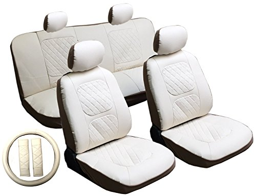 13 Piece Luxury Diamond Stitch Pattern Leatherette Lexus White Seat Cover Set - 2 Front Seats, Rear Bench, Steering Wheel Cover, Seat Belt Pads