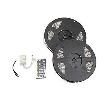 Waterproof 10M 2x5M 5050 SMD 600 LED RGB Flexible Strip Light + 44 Key Remote for decoration lighting, display lighting, under cabinet lighting, backlight,car light 12V