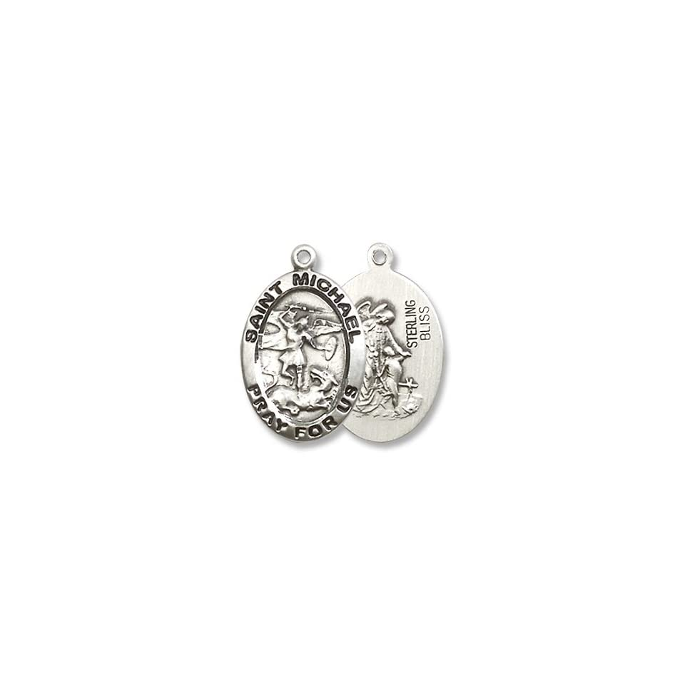 Made in America Small Oval Sterling Silver St. Michael the Archangel Medal Pendant with 18 Sterling Silver Chain in Gift Box Patron Saint of Police Officers & Emts. Catholic Saint Michael the Archangel Patron Saint of Battle, Emts, Mariners, Sailors, S