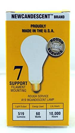Newcandescent, PACK of 12 Incandescent 60-Watt Rough Service Frost A19 Light Bulb. 10,000 Hours Life 519 Lumen. Made in the USA