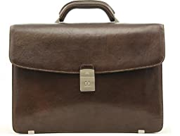 Tony Perotti Mens Italian Bull Leather Giorgio Four-Compartment Multi-Function Leather Laptop Briefcase in Brown