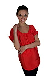 Kiosha Red Crepe Round Neck Top for Women