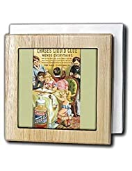 BLN Vintage Trade Cards Featuring Children - Chases Liquid Glue Mends Everything Children Scrap booking - Tile Napkin Holders - 6 inch tile... by 3dRose