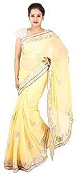 Kasturi Sarees Basement Women's Chiffon Saree (Beige)