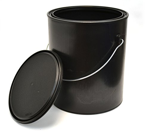 1 Gallon Black All-Plastic (Polypropylene) Paint Can with Ears, Bail and Lid - Can Made From 100% Recycled Plastic (Recycled Cans compare prices)