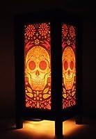 Thai Vintage Handmade Asian Oriental Fantasy Skull Bedside Table Light or Floor Wood Paper Lamp Shades Home Bedroom Garden Decor Modern Design from Thailand from The Promise Thai Lanna Lamp