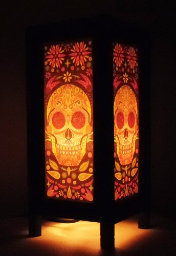 Thai Vintage Handmade Asian Oriental Fantasy Skull Bedside Table Light or Floor Wood Paper Lamp Shades Home Bedroom Garden Decor Modern Design from Thailand by The Promise Thai Lanna Lamp