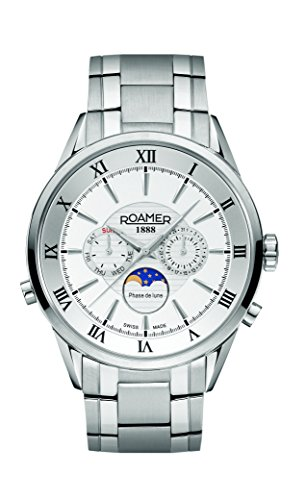 Roamer of Switzerland Superior Moonphase Men's Quartz Watch with White Dial Chronograph Display and Silver Stainless Steel Bracelet 508821 41 13 50