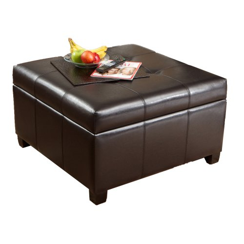 BEST Richmond Espresso Leather Storage Ottoman