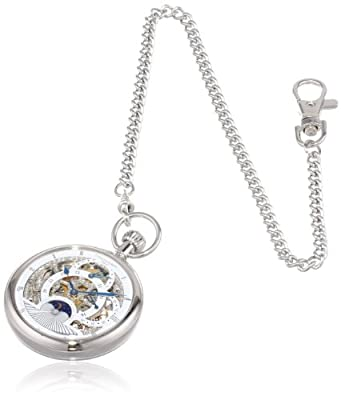 Charles Hubert Pocket Watch 3816-W Chrome Plated Moon Phase Open Face