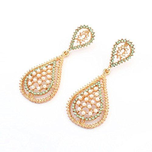 Zps(Tm) 1 Pairs Rose Flower Crystal Rhinestone Earrings (Gold)
