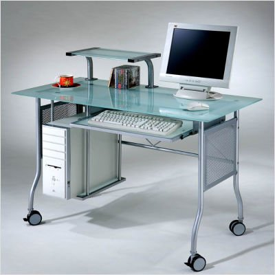 Buy Low Price Comfortable The Prota-16 Computer Glass Table (Frosted / Silver) (38.39″H x 23.62″W x 47.24″D) (B000UV6Y40)