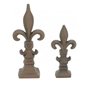 Amazon.com : Set of 2 Cast Iron Fleur De Lis Garden Statue