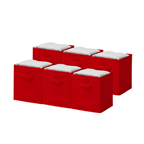 Discover Bargain Sorbus® Foldable Storage Cube Basket Bin (6 Pack, Red)