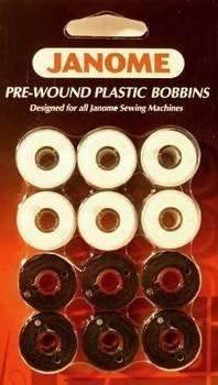 Janome 12 Pack Pre-Wound Plastic Bobbins White and Black Thread (Prewound Bobbins Janome compare prices)