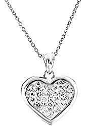 Sterling Silver Round Pave Cubic Zirconia Heart Pendant/Necklace 18 Inches Silver Chain