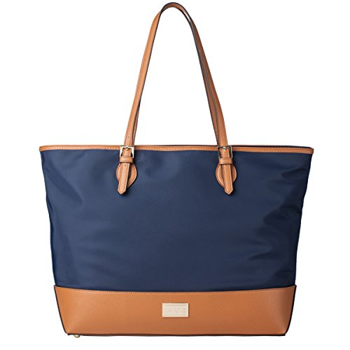 La Cle LA-037 Water Resistant Large Shoulder Tote(Navy/Tan)