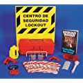 "NMC LOK2BI 11 Piece Bilingual Electrical Lockout Center with Wire Basket, 16"" Length x 14"" Height, Yellow Board"