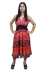 Indiatrendzs Women's Dresses Red smocked waist Sleeveless Boho Cotton Midi Dress