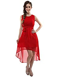 Clickedia Girl's & Women's faux Georgette Red Kurti