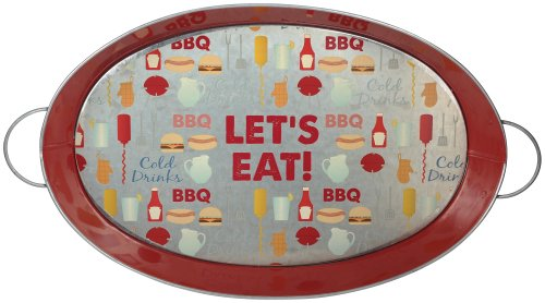 "Grasslands Road 3-Pack ""Let'S Eat"" Metal Serving Tray With Handles, 18-Inch"