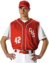 Mens Baseball Vest by Alleson Athletic with Braid - ScarletWhite