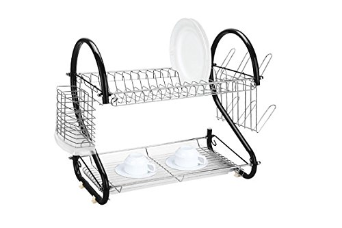 Home Basics 2-Tier Stainless Steel Dish Drainer, Black