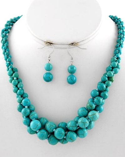 Turquoise Multi Strand Necklace & Earring Set