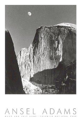 Moon-and-Half-Dome-Embossed-Poster-by-Ansel-Adams-24-x-36