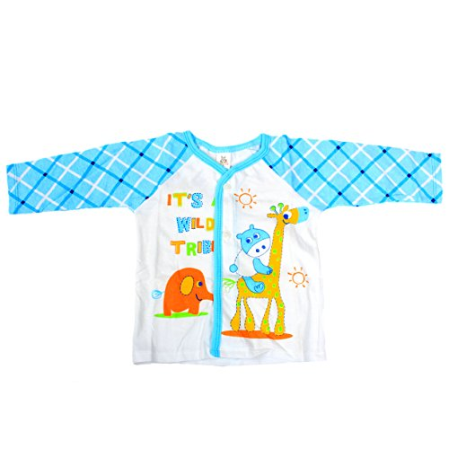 Baby Bucket Full Sleeve Front Open Animal Printed Jabla New Born (Blue)