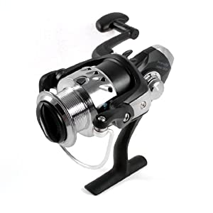 Como Black Silver Tone Foldable Handle Fishing Spinning Reel Gear Ratio 5.2:1 from Como