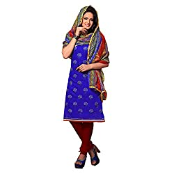 Resham Fabrics Dark Blue Chanderi Dress Material