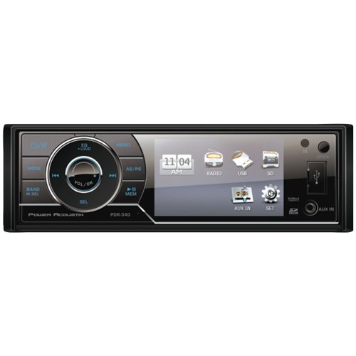Power Acoustik PDR-340 3.4-Inch LCD Single-DIN In-Dash Multimedia Receiver with Detachable Face