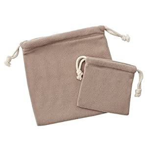 muji fleece drawstring bag small and large set beige