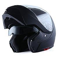 1Storm Motorcycle Street Bike Modular/Flip up Dual Visor/Sun Shield Full Face Helmet Matt Black from Power Gear Motorsports