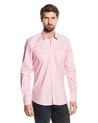 Mattschwarz Camisa Hombre Modern Fit Rosa