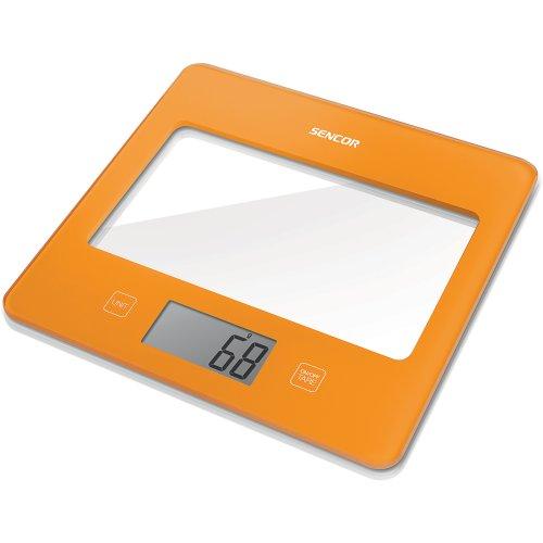 Sencor 41000754 SKS 5023OR Balance de Cuisine avec Surface en Verre Orange