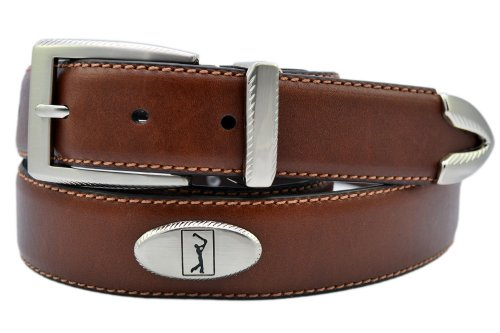 PGA TOUR Leather Concho Golf Belt 34 Brown