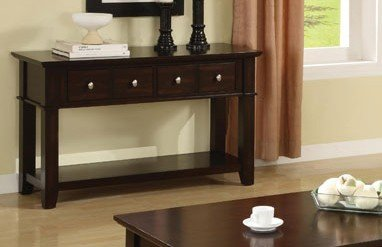 Spectacular Poundex Console Sofa Table With Storage Drawers in Espresso Finish by Poundex