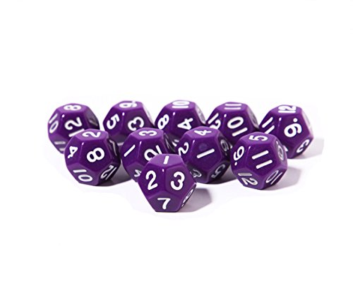 Great Deal! Ent-mart Trpg Game Rpg Polyhedral Standard Size Dice Opaque Purple 12-sided D12 Pack of ...