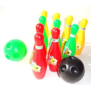 Outdoor and Indoor Plastic 12 Pc. Miniature Bowling Set Party Toys for Kids
