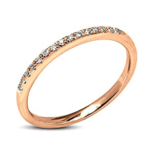 0.25 CT.10K Rose Gold Round Natural Diamond Anniversary Wedding Band for Her(Color G-H, Clarity I2-I3)